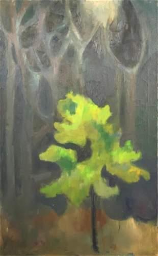 Jane Miller Oil, Green Tree in Moonlight