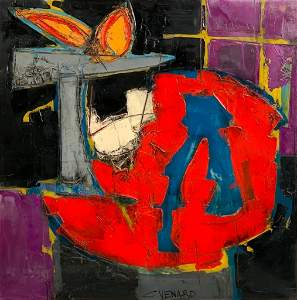 Claude Venard Oil, Still Life with Sculpture on Table