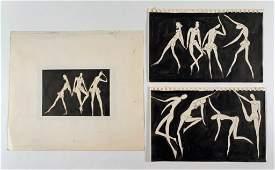 Algesa O'Sickey, Three Graphic Works, Dancers