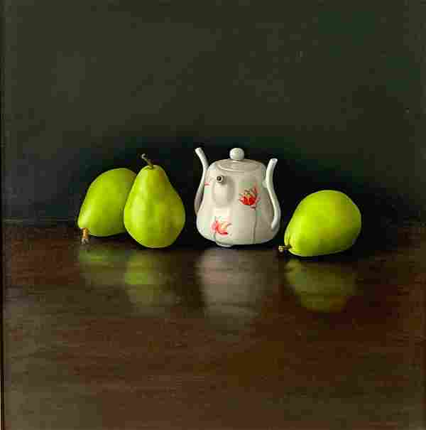 """Eric Kunde Oil, """"Three Pears and Teapot"""""""