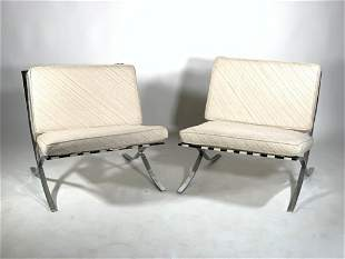 Pair of Mies Van Der Rohe Barcelona Style Chairs