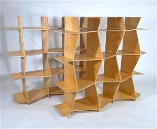 Pair Italian Modern Laminate Bookcases