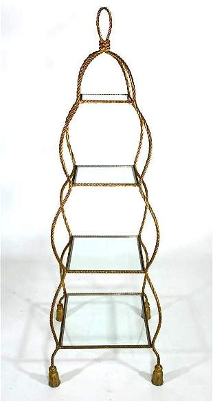 Brass and Glass Tiered Etagere, Modern
