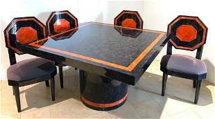 Maitland-Smith Attributed Horn Game Table, Chairs