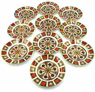 10 Royal Crown Derby Old Imari Bread & Butter Plates