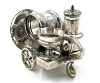 Victorian Silver Plate Condiment Trolley and Napkin