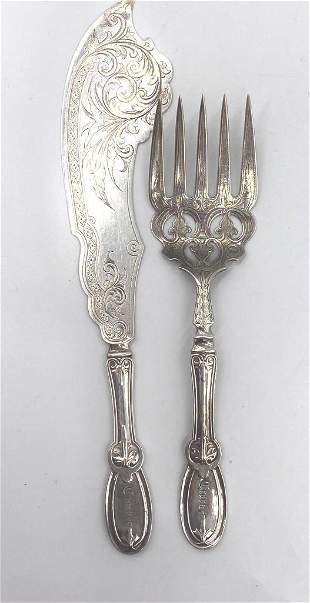 William Gale Jr. Coin Silver Fish Knife and Fork