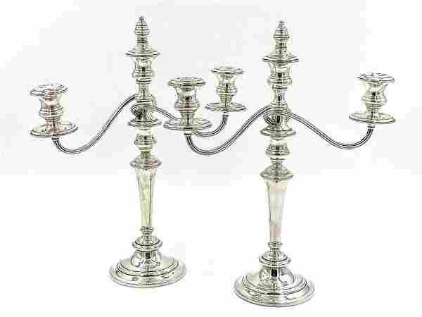 Pair of Gorham Sterling Silver Three Light Candelabra