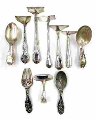 Lot of Sterling Silver Baby Pushers, Spoons and More