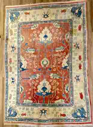 "Oushak Style Wool Carpet 12'7"" x 8'10"""