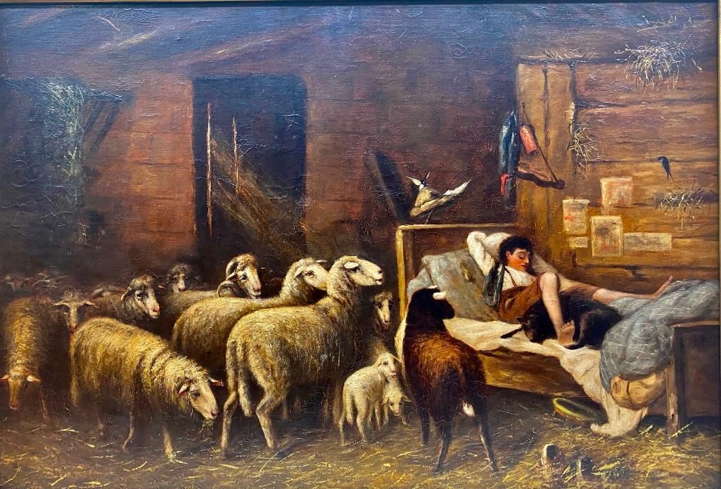 19thc. Continental School, Oil, Waking the Shepherd