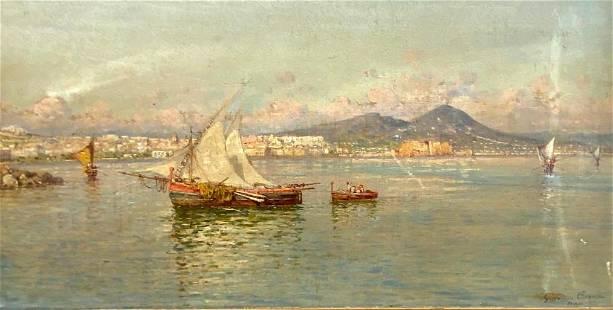 Giuseppe Carelli Oil, View of Naples