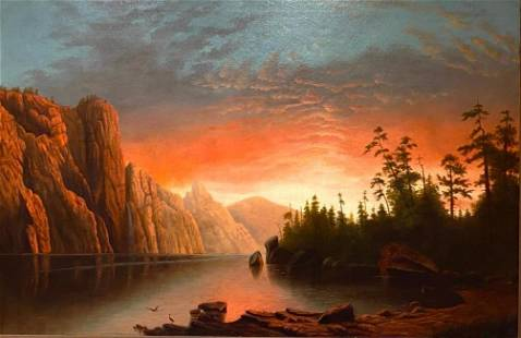 After Albert Bierstadt Oil, Sunset (California Scenery)