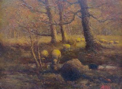Henry Ahl Oil, Sheep in a Forest