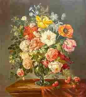 Friedrich Petersen Oil, Still Life of Flowers in Glass