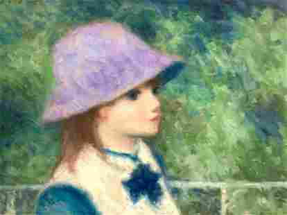 Andre Gisson Oil, Portrait, Young Girl in Lavender Hat