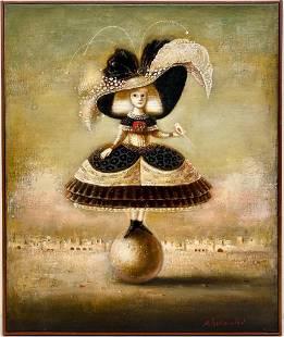 Alex B. Parkhomenko Oil, Girl with Bird on Ball