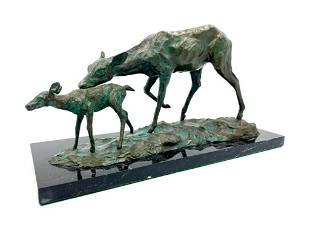 Larry Isard Bronze Animalier Group, First Steps