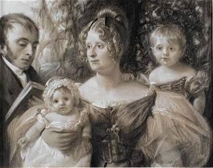 Roderick G.Coslett Pastel Family Portrait, 1832