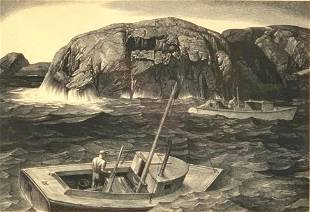 Stow Wengenroth Lithograph, Maine Lobsterman