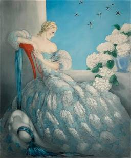 """Louis Icart Color Etching, """"Symphony in Blue"""""""