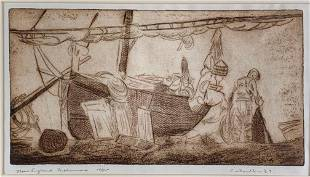 C. Thorlton Etching, New England Fishermen
