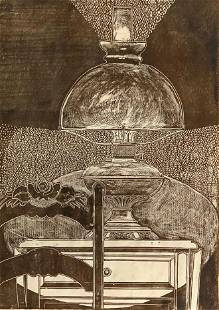 """Chase, (20thc. ) Woodblock Print, """"Cottage Lamp"""""""