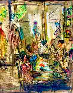 Pascal Cucaro Painting, Restaurant Scene