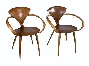 Pair of Norman Cherner Designed Pretzel Armchairs for