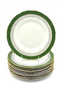 Twelve Royal Worcester Dinner Plates, Regency Pattern