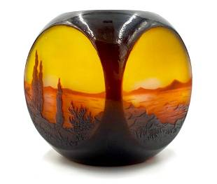 D'Argental Four Sided Scenic Cameo Glass Vase