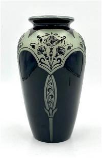 Steuben Black Mirror and Alabaster Vase Signed Carder