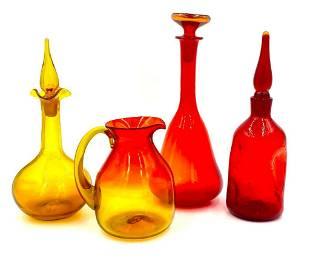 Four Pieces of Blenko Glass