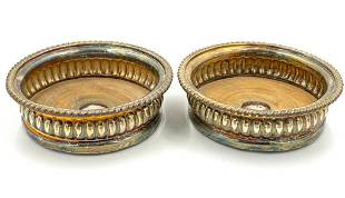 Pair of English Sheffield Plate Bottle Coasters