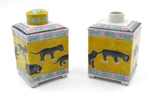Two Chinese Tea Caddies, Wang Yue Tai, Shanghai, China