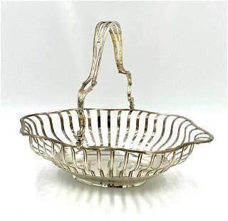 English Sterling Silver Cake Basket, London, 1760's