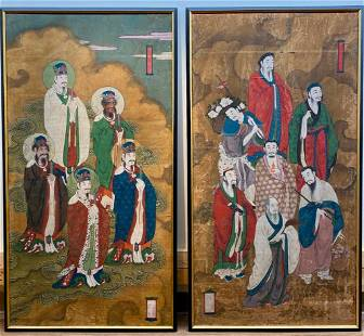 Two Chinese Painted Panels