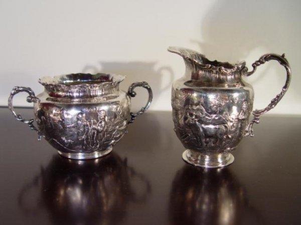 7: German Silver Cream Pitcher & Sugar Bowl.