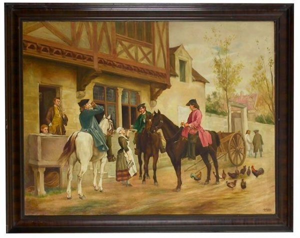 """9: """"At the Tavern"""" Painting by V.Mullie."""