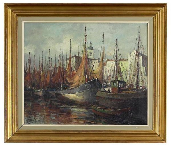 """11: """"Boats in the Harbor"""" Painting by T. Naes."""