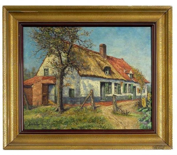 12: Painting of a Farm House. Signed.