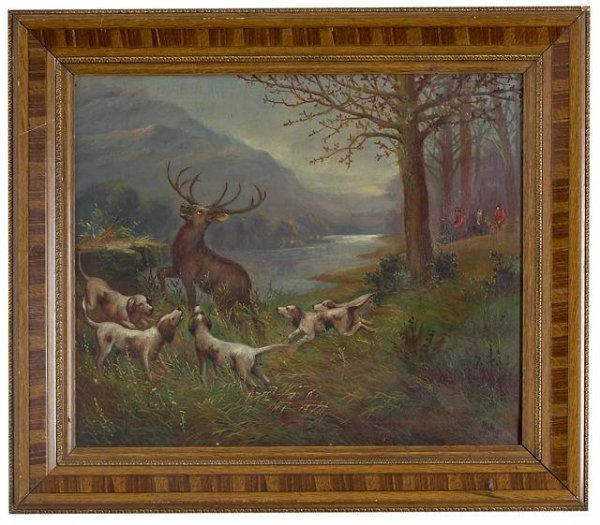"""14: """"Hunting a Deer"""" Oil Painting by Matthys, Alberic ("""