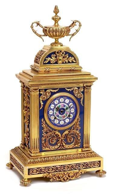 15: French Gilt Bronze, Enamel & Porcelain Clock.