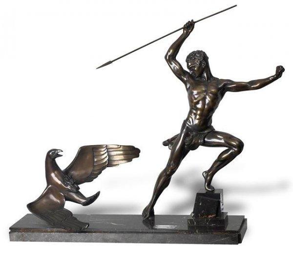 21: Art Deco Large Bronze Composition of a Men & an Eag