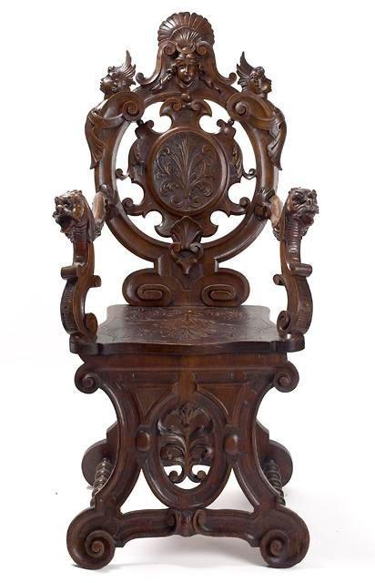23: Italian Sgabello Design Oak Carved Hall Armchair.