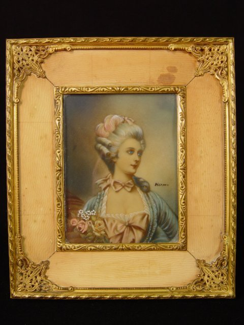 12: Framed Painting on Ivory or Cellulose Late 19th. Ce