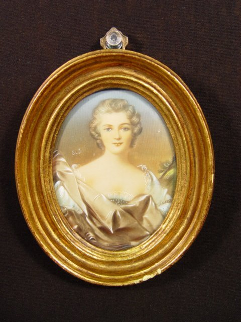 14: Framed Painting on Ivory or Cellulose Late 19th. Ce