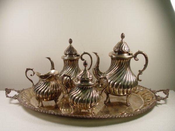 15: Very Decorative Sterling Silver 5 Pc. Tea & Coffe S