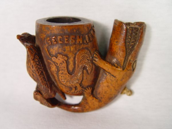 24: Post Civil War 1864 Folk Art Pipe Bowl.