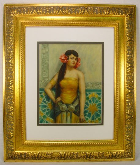 244: Framed Painting of an Girl on Porcelain Signed by